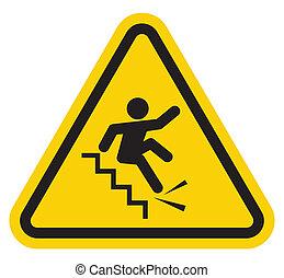 印, 落ちる, 警告, 階段, 離れて