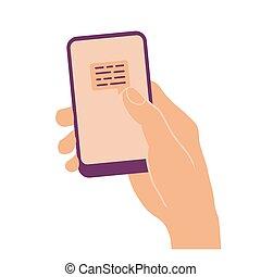 印, 電話, 保有物, メッセージ, 手, 痛みなさい