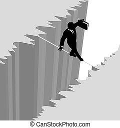 危険, ビジネス, 危険, 上に, 低下, 綱, 歩く, 人, 崖