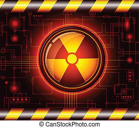 危険, 放射, 印, ボタン