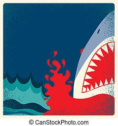 危険, 背景, poster., ベクトル, サメ, あご