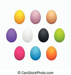 卵, セット, イースター, カラフルである, 3次元である