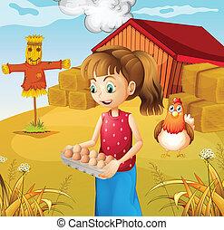 卵, 女, 収穫する