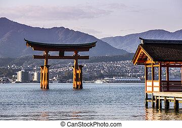 厳島, miyajima., 有名, 神社, 場所, hiroshima., 日本