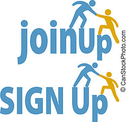 参加しなさい, 人々, の上, 印, メンバー, 助け, グループ, アイコン