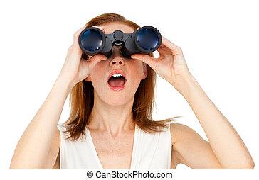 双眼鏡, によって, 見る, 女性実業家, 空想家