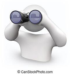 双眼鏡, 見る, -, 助け