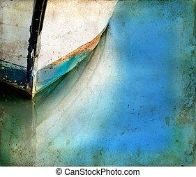 反射, グランジ, ボート, 背景, 弓