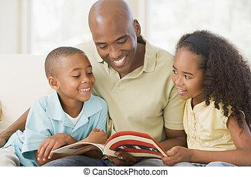 反響室, モデル, 2, 本, 微笑, 読書, 子供, 人