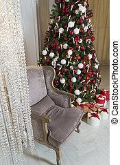 反響室, 木, 贅沢, 内部, シック, 飾られる, クリスマス
