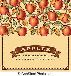 収穫, レトロ, カード, アップル