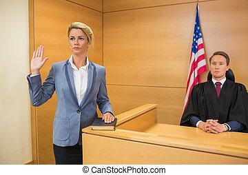 取得, 証人の宣誓