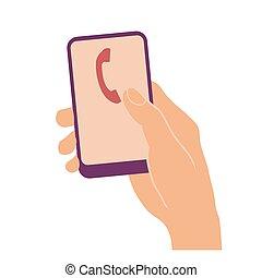 受話器, 印, 電話, 手を持つ, 痛みなさい