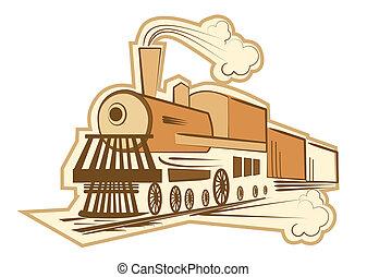 古い, イラスト, 蒸気, ベクトル, engine., 機関車