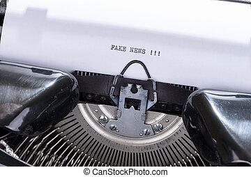 古い, テキスト, 書かれた, 黒, 偽造品, ニュース, タイプライター