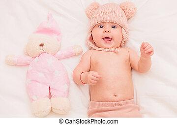 古い, テディ, 月, 熊, 5, 女の赤ん坊, 極度, 興奮させられた