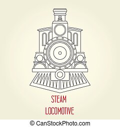 古い, 型, -, 蒸気の 列車, 前部, 機関車, 光景