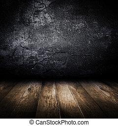 古い, 壁, floor., コンクリート, デザイン, 木製である, template.