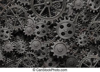 古い, 多数, 金属, 機械, 錆ついた, 部分, ギヤ, ∥あるいは∥