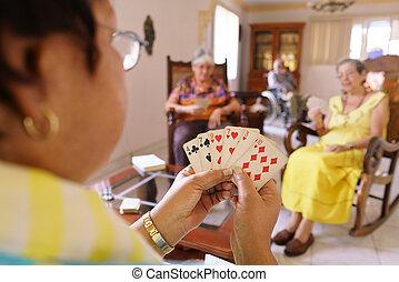 古い, 楽しみ, ゲーム, 持ちなさい, ホスピス, トランプ, 女性