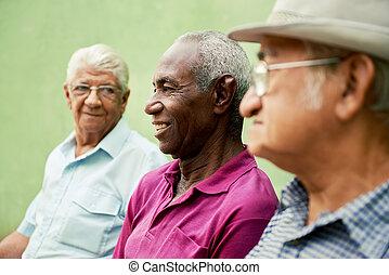 古い, 男性, 公園, 話し, 黒, グループ, コーカサス人