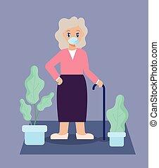 古い, 部屋, 心配, 暮らし, 年配の女性