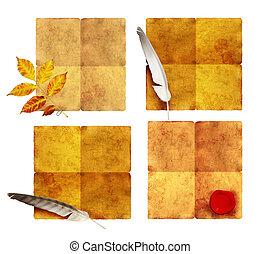 古い, parchments, コレクション