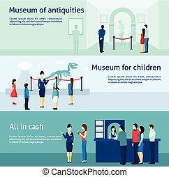 古さ, セット, 旗, 考古学的, 博物館, 平ら