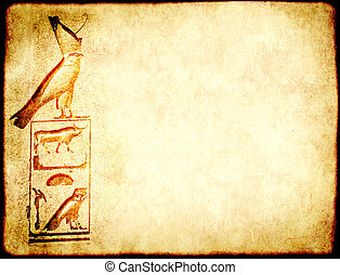 古代, グランジ, エジプト人, 細部, 手ざわり, ペーパー, 象形文字, 背景
