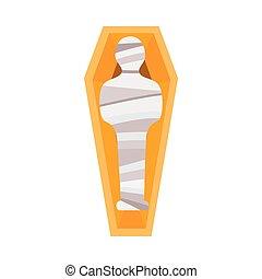 古代, ミイラ, 石棺, エジプト人, 形, 漫画, -, 人, mummified