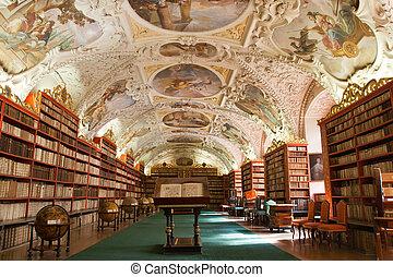 古代, 古い, 地球儀, 本, 修道院, プラハ, 図書館, ホール, 装飾, チェコ, 本棚, 共和国, strahov, 化粧しっくい, 神学である, 家具