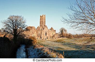 古代, 観光客, 西, 修道院, 魅力, 田園, アイルランド