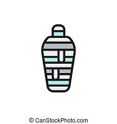 古代, 隔離された, 白い背景, ミイラ, icon., 色, 平ら, エジプト人, 線