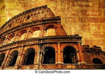 古代, colosseum, 手ざわり, ローマ