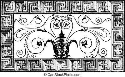 古代, volutes, ローマ人, パリ, pittoresque, patterns., 細部, 幾何学的, 雑誌, le, デザイン, 1840, foliated, 作られた, ボーダー, モザイク, magasin