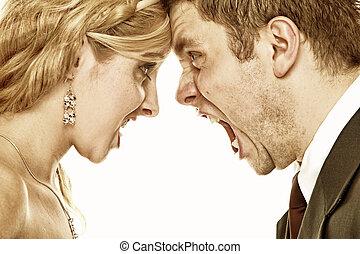 叫ぶ, 関係, 激怒, 恋人, 困難, 結婚式