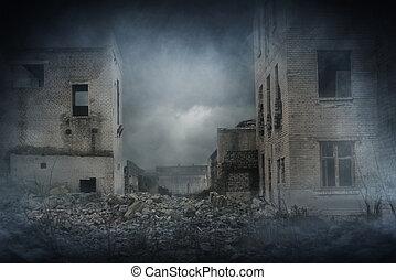台なし, city., 効果, 破滅的である, 災害