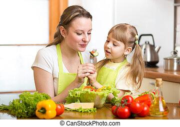 台所, 野菜, 供給, 子供, 母