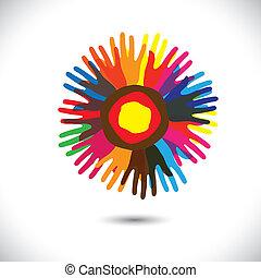 合併した, 人々, 普遍的, 共同体, flower:, 地位, アイコン, concept., 同業組合, 幸せ, カラフルである, 表す, イラスト, 手, 花弁, 統一, 助力, グラフィック, これ, ∥など∥, ベクトル, チーム