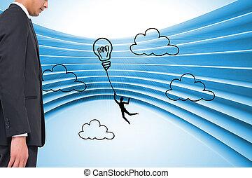 合成, ライト, 背景, グラフィック, 電球, 青, 未来派, イメージ