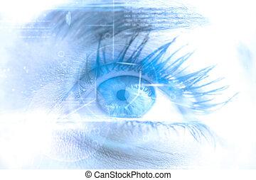 合成, 終わり, 女性, の上, 青, イメージ, 目