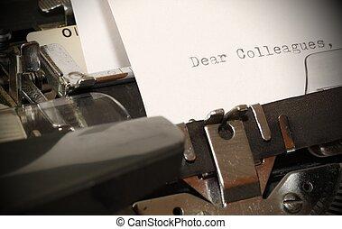 同僚, 古い, テキスト, タイプされる, 親しい, タイプライター
