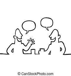 味方, 会話, 持つこと, 2人の人々