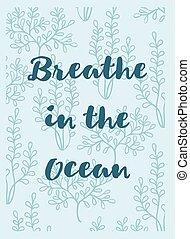 呼吸, 海草, グリーティングカード, 海洋