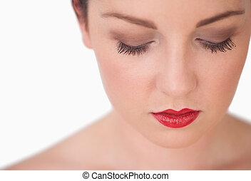 唇, 女, クローズアップ, 赤, 若い