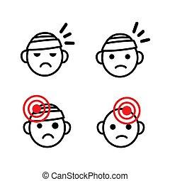 問題, 医学, 悲しい, ベクトル, ∥など∥., 偏頭痛, 健康, 痛み, 頭, 包帯をされた, 頭痛, set., セット, アイコン, 傷害, 頭, emoji