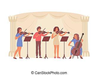 四つ組, オーケストラ, 構成, 平ら