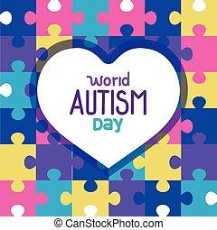 困惑, 背景, 心, 世界, autism, 日, 小片