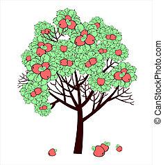 図画, ベクトル, 木, アップル, 成果