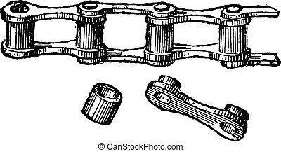 固体, 型, 鎖, リンク, engraving.